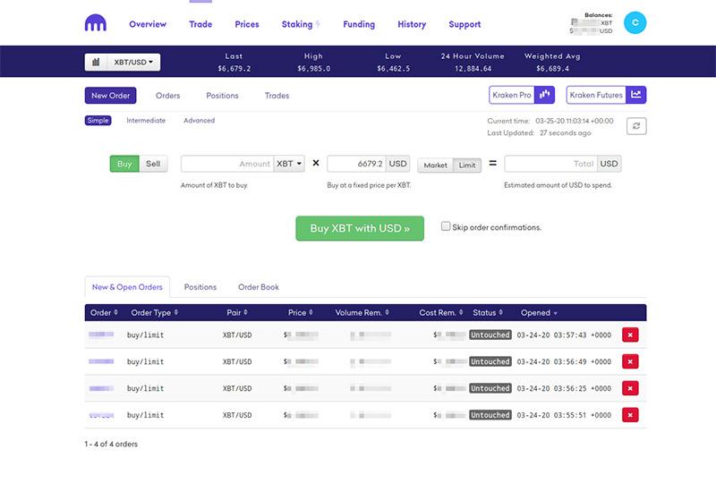 kraken trading interface